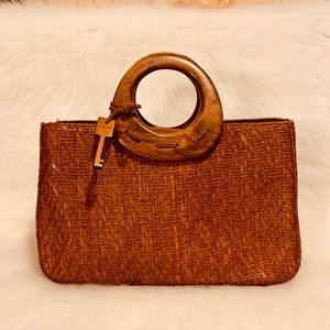 Fossil | Brown Woven and Wooden Clutch Bag